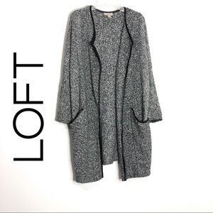 Loft Gray Long Cardigan Sweater Open Front Gray ML